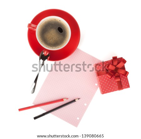Red coffee cup, gift box and love letter. View from above. Isolated on white background - stock photo