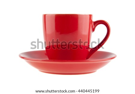 red coffee Cup isolated on white background closeup - stock photo
