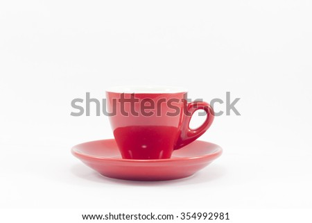 Red coffee cup isolated on white background, stock photo - stock photo