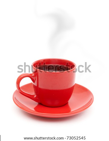 Red coffee cup on plate with smoke isolated on white background. - stock photo