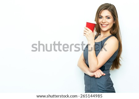Red coffee cup. Relax time concept. Smiling business woman isolated on white. Business dress.  - stock photo