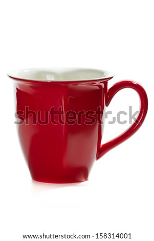 red coffee mug isolated on a white background