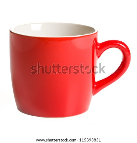 red coffee mug on white background