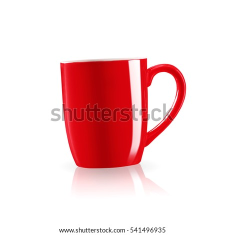 Red coffee mug with shadow on white background.
