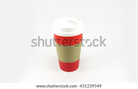 Red coffee paper cup with copy space for text on white background - stock photo