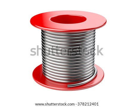 Red coil with wire. 3d illustration on a white background - stock photo