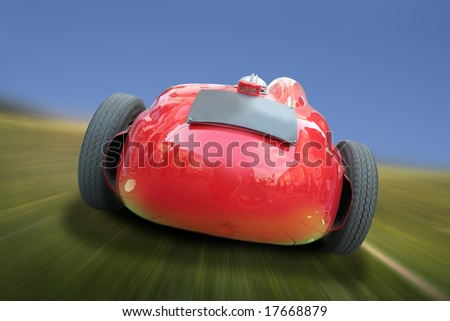 Red collection car racing in country, the license plate can be useful for ads and messages. - stock photo