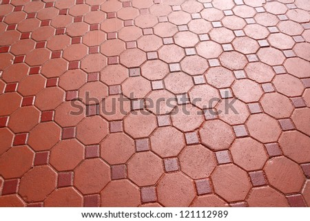 Red color footpath concrete block - stock photo