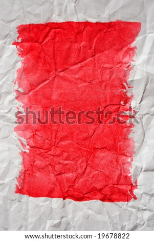 Red color framed painted crushed paper as background. Art is painted by photographer. - stock photo