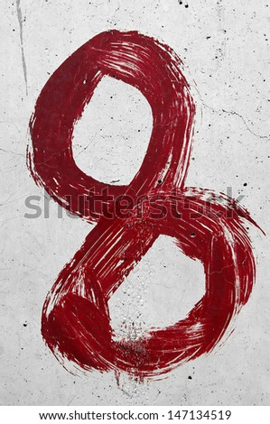 Red color hand painted number 8. - stock photo