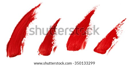 Red color lip gloss stroke on white background