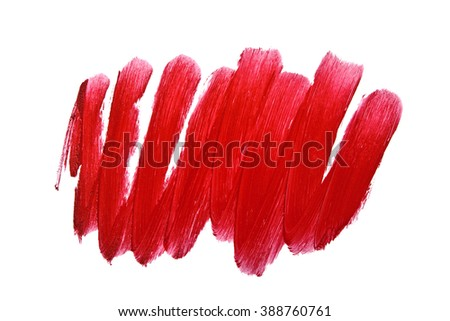 Red color lipstick stroke on white background - stock photo