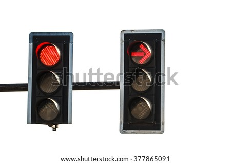 Red color on the traffic light  on white background - stock photo