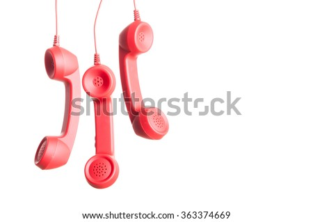 Red color phone - stock photo