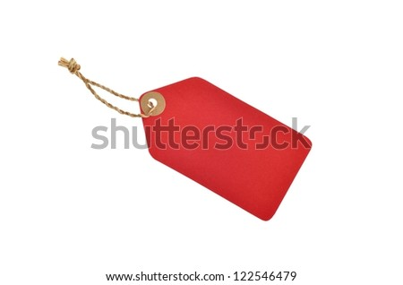 red color tag with rope - stock photo