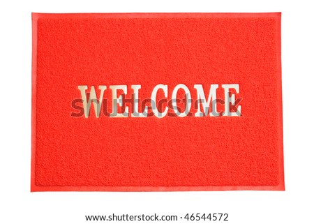 Red Color Welcome Mat - stock photo