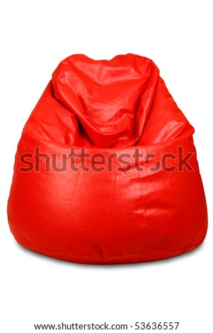 Red colored bean bag isolated on white background - stock photo