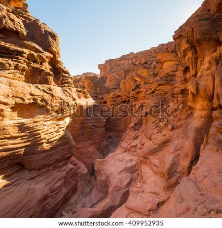 Red  Colored Canyon  Sinai Peninsula, Egypt - stock photo