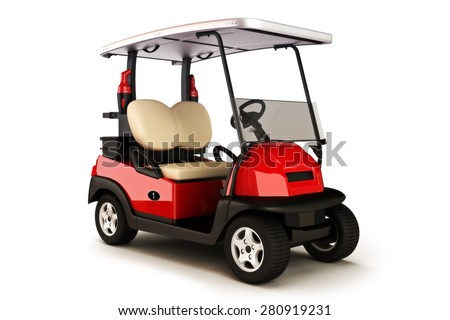Red colored golf cart on a white isolated background - stock photo