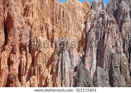 Red-Colored mountains near Uquia, Jujuy province, Argentina - stock photo