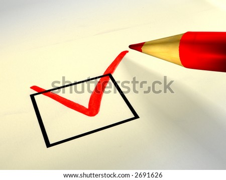 Red colored pencil checking a box. Digital illustration. - stock photo