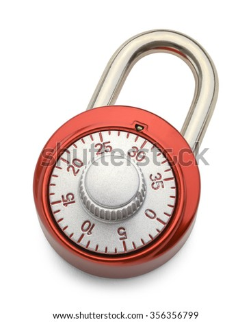 Red Combination Lock Isolated on a White Background.
