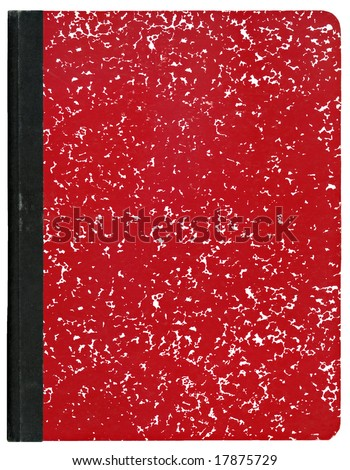 Red composition notebook isolated on white. - stock photo