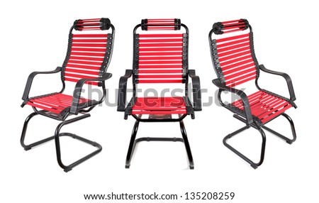 red Computer chair  on white background - stock photo