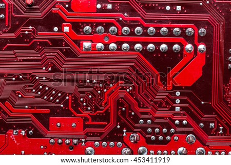 red computer chip - stock photo
