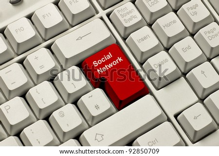 Red computer keyboard key labelled Social Network. Concept of the possible dangers.