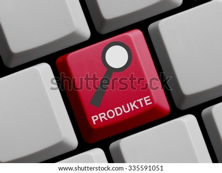 Red Computer Keyboard with symbol of magnifier with Products in german language - stock photo