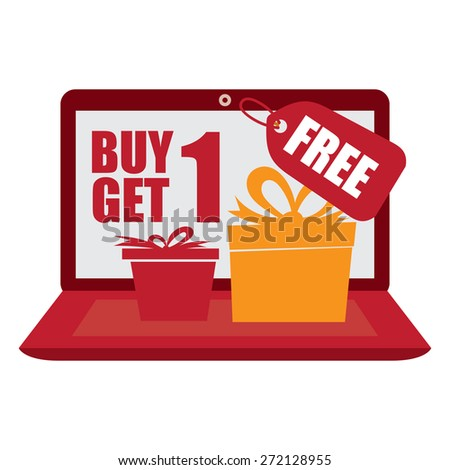 Red Computer Laptop With Buy 1 Get 1 Free Banner, Sign, Icon or Label Isolated on White Background - stock photo
