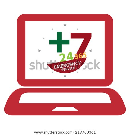 Red Computer Laptop With 24 Hours A Day, 7 Days A Week, 365 Days A Year Emergency Service on Screen Sign, Icon or Label Isolated on White Background  - stock photo