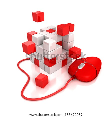 red computer mouse connect to abstract cubes structure. 3D render on white background - stock photo