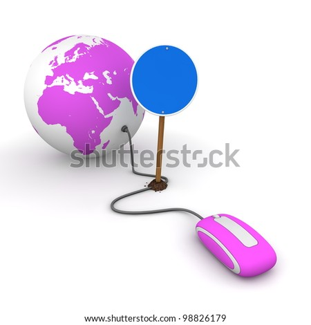 red computer mouse is connected to a purple globe - surfing and browsing is blocked by a blue round mandatory-sign - empty template - stock photo