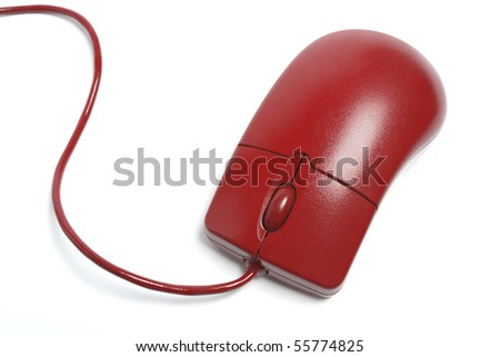 Red Computer Mouse on White Background - stock photo