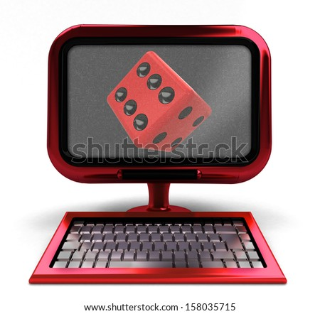 red computer with lucky cube on screen concept isolated illustration