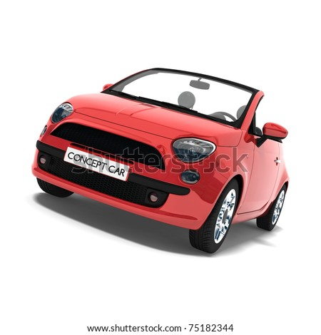 Red concept car on white background - stock photo