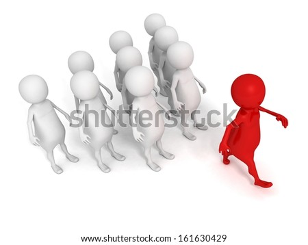 red concept 3d leader of team group walk forward - stock photo