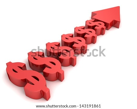 red concept dollar currency arrow rising forward - stock photo