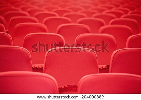 Red concert hall, opera or theater seats - stock photo
