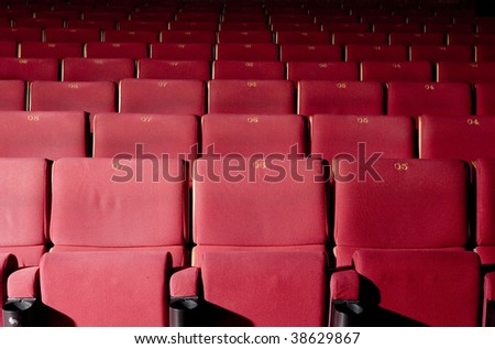 Red concert hall, opera or theater seats. - stock photo