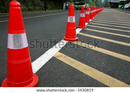 red cones on the road - stock photo