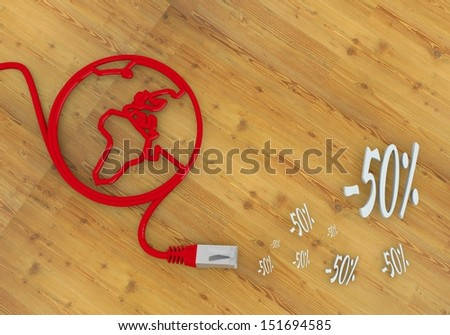 Red  connected cable 3d graphic with wooden discount icon on network to home office desk