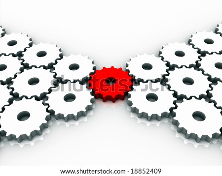 Red connection gear - stock photo