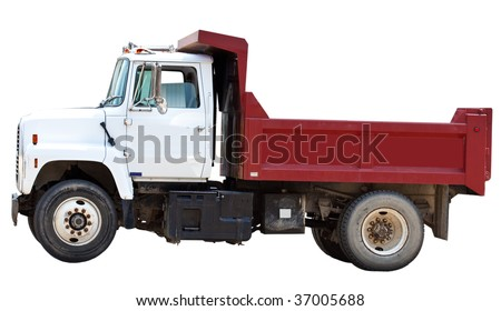 Red construction truck isolated on white background