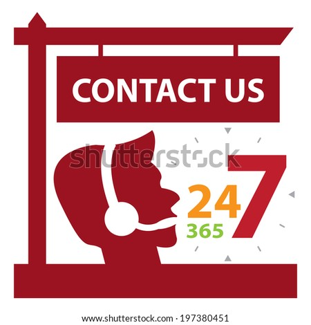 Red Contact Us and 24 7 365 Call Center Sign Icon, Sticker or Label Isolated on White Background  - stock photo