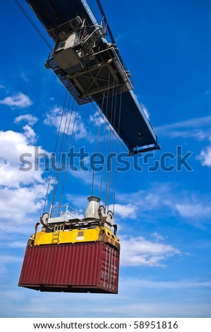 red container box on cargo operation - stock photo