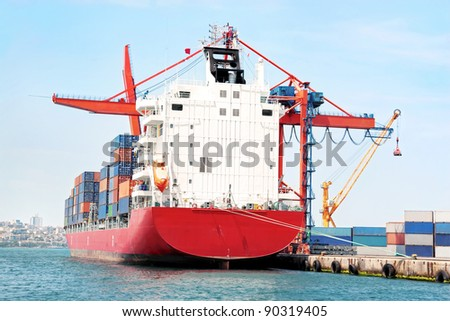Red container ship - stock photo