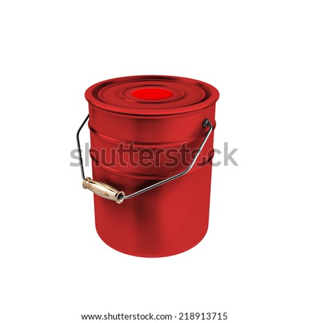 Red container with red paint isolated on white background. Metal bucket with a paint.